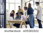 concentrated diversity group of ... | Shutterstock . vector #635281022