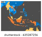 south east asia political map... | Shutterstock .eps vector #635287256