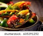 vegetarian corn tortilla tacos... | Shutterstock . vector #635291252