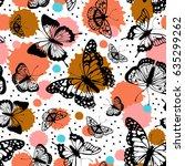 vector butterflies pattern.... | Shutterstock .eps vector #635299262