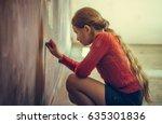 portrait of child blonde girl... | Shutterstock . vector #635301836