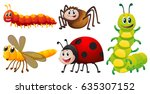 different types of bugs on... | Shutterstock .eps vector #635307152