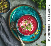 spring detox beetroot soup with ... | Shutterstock . vector #635310842