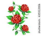 several red roses with green... | Shutterstock .eps vector #635312006