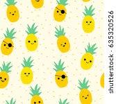 seamless pineapple pattern for... | Shutterstock .eps vector #635320526