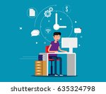 designer man working with... | Shutterstock .eps vector #635324798