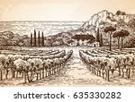 hand drawn vineyard landscape... | Shutterstock .eps vector #635330282