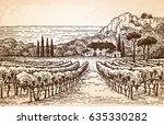 hand drawn vineyard landscape... | Shutterstock .eps vector #635330282