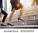 close up legs of businesswoman... | Shutterstock . vector #635335055