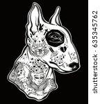 bull terrier's portrait made in ...   Shutterstock .eps vector #635345762
