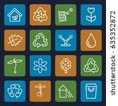 eco icons set. set of 16 eco... | Shutterstock .eps vector #635352872