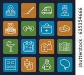 doctor icons set. set of 16... | Shutterstock .eps vector #635354666