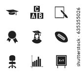 set of 9 editable school icons. ... | Shutterstock .eps vector #635355026