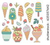 a set of cute vector hand drawn ... | Shutterstock .eps vector #635357642