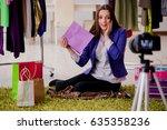 fashion blogger recording video ... | Shutterstock . vector #635358236