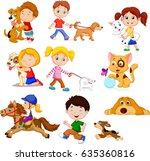 cartoon little kids with pets | Shutterstock .eps vector #635360816