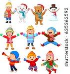 little kids wearing winter... | Shutterstock .eps vector #635362592