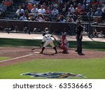 Small photo of SAN FRANCISCO, CA - OCTOBER 19: Giants vs. Phillies: Giants Cody Ross at bat taps bat on plate with Carlos Ruiz catching game three of the NLCS 2010 October 19, 2010 AT&T Park San Francisco.
