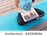 young happy fitness yoga woman... | Shutterstock . vector #635368046