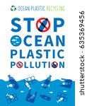 stop ocean plastic pollution... | Shutterstock .eps vector #635369456
