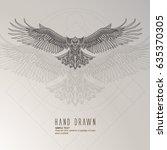 patterned flying eagle on... | Shutterstock .eps vector #635370305