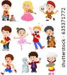 cartoon kids with different... | Shutterstock . vector #635371772