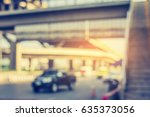 vintage tone image of blur car... | Shutterstock . vector #635373056
