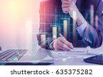double exposure businessman and ... | Shutterstock . vector #635375282