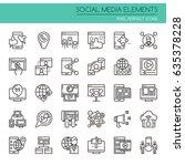 social media elements   thin... | Shutterstock .eps vector #635378228