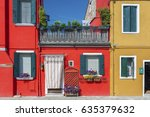 colorful house in burano island ... | Shutterstock . vector #635379632