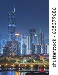 skyline of shenzhen city  china ... | Shutterstock . vector #635379686
