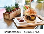 burgers with beef bacon and... | Shutterstock . vector #635386766