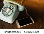 two phone different technology. ... | Shutterstock . vector #635396225
