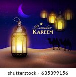 lanterns stands in the desert... | Shutterstock .eps vector #635399156