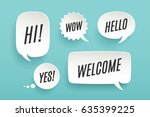 set of paper bubble cloud talk... | Shutterstock .eps vector #635399225