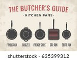 set of kitchen pans. poster... | Shutterstock .eps vector #635399312