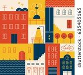 town building vector... | Shutterstock .eps vector #635405165