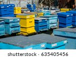hives in the apiary   selective ...   Shutterstock . vector #635405456
