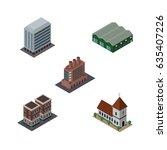 isometric urban set of house ... | Shutterstock .eps vector #635407226