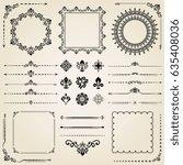 vintage set of classic elements.... | Shutterstock . vector #635408036