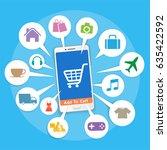 smartphone with basket online... | Shutterstock .eps vector #635422592