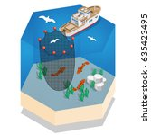 the boat for fishing. isometric.... | Shutterstock .eps vector #635423495