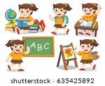 back to school. cute children... | Shutterstock .eps vector #635425892