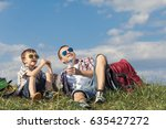 father and son sitting in the... | Shutterstock . vector #635427272