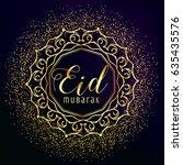 eid mubarak greeting with... | Shutterstock .eps vector #635435576