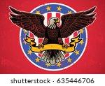 american eagle spread wings...   Shutterstock .eps vector #635446706