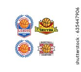 4 basketball team logo and... | Shutterstock .eps vector #635447906