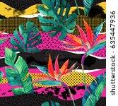 abstract tropical summer design ... | Shutterstock . vector #635447936