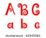 candy cane swirl letters a a b... | Shutterstock .eps vector #63545581