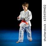 little boy martial arts fighter ... | Shutterstock . vector #635459402